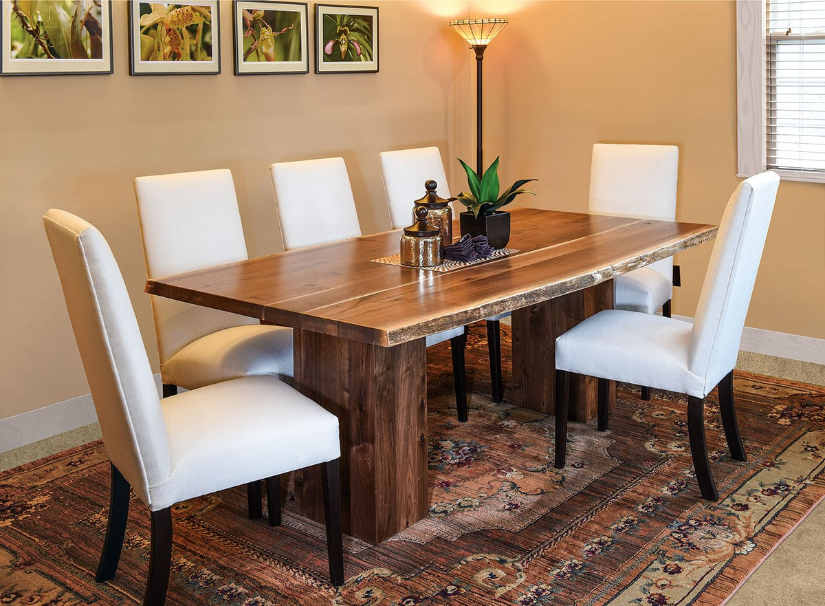 Rio Vista Trestle Live Edge Table With Sheldon Dining Chairs At Mattie Lu